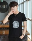 White Round Neck Short Sleeve Loose Men's T-Shirt