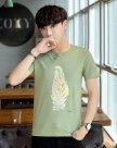 Green Animal Round Neck Short Sleeve Loose Men's T-Shirt