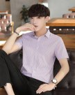Blue Pointed Collar Short Sleeve Fitted Men's Shirt