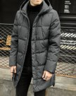 Gray Hidden Hood Long Sleeve Standard Men's Down Coat