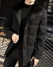 Black Lapel Long Sleeve Fitted Men's Outerwear