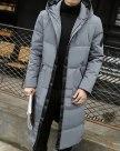 Black Hidden Hood Long Sleeve Standard Men's Down Coat