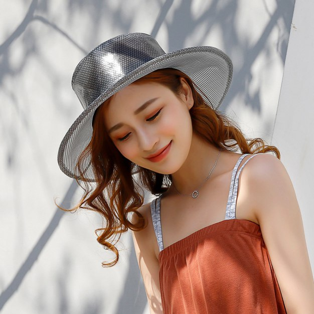 Gray Boater Polyester Bucket Hat Hat & Cap