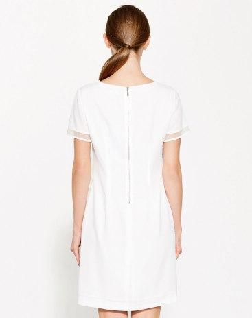 White Round Neck Short Sleeve 3/4 Length Women's Dress