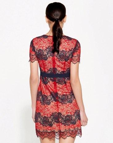 Red Round Neck High Waist 3/4 Length A Line Women's Dress