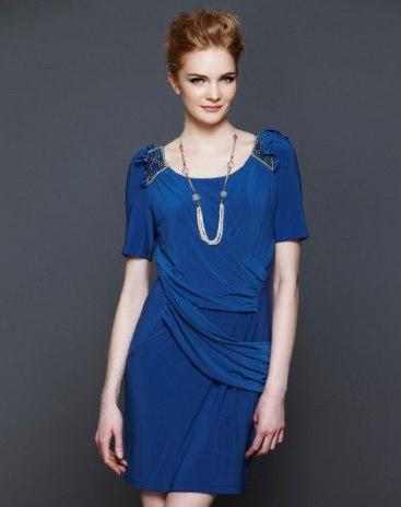 Blue Round Neck Short Sleeve 3/4 Length Bodycon Women's Dress