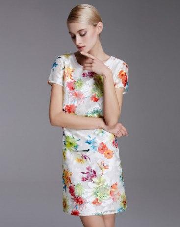 White Round Neck Short Sleeve 3/4 Length Standard Women's Dress