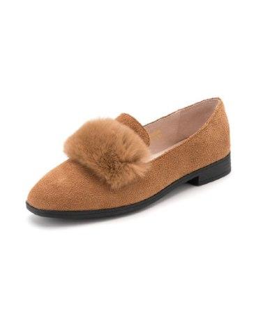 Brown Round Head Low Heel Women's Casual Shoes