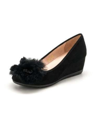 Black Round Head Middle Heel Women's Shoes