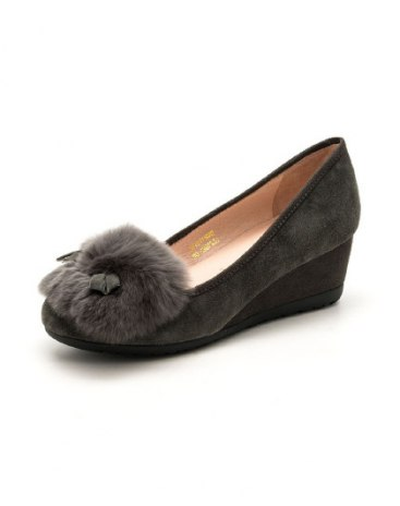 Gray Round Head Middle Heel Women's Shoes