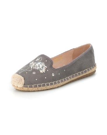 Gray Round Head Low Heel Women's Flats