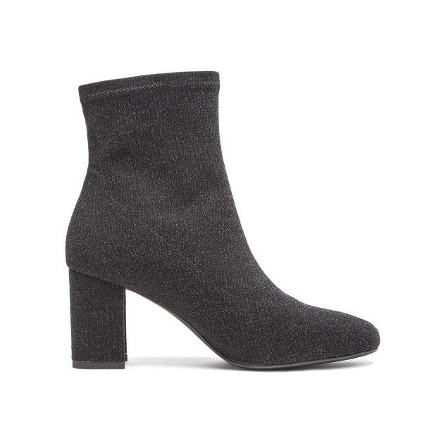 Black Top Round Head High Heel Women's Boots