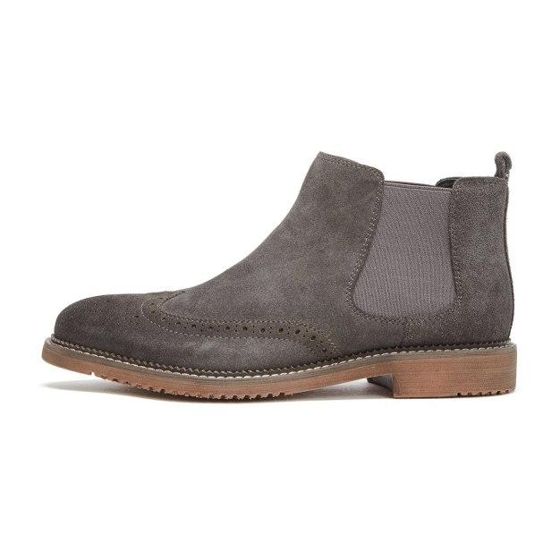 Gray Round Head Men's Chelsea Boots