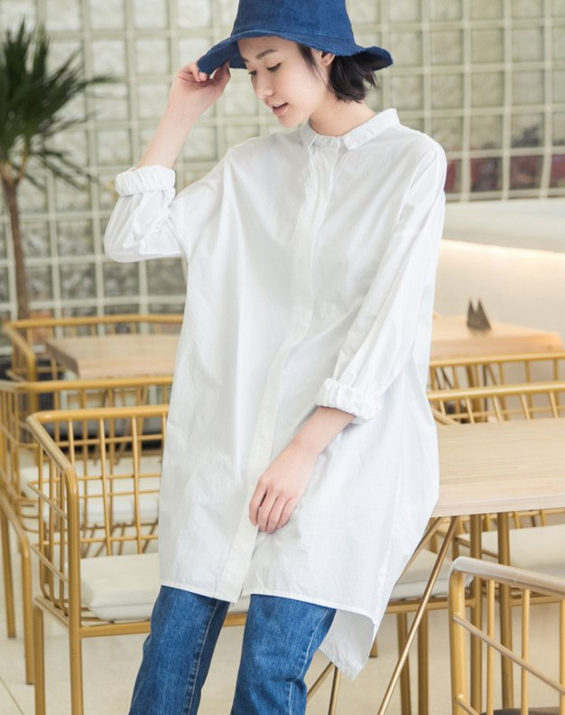 White Plain Lapel Long Sleeve Women's Shirt