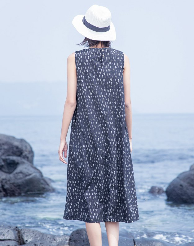 Indigo Round Neck Sleeveless Long Fitted Women's Dress