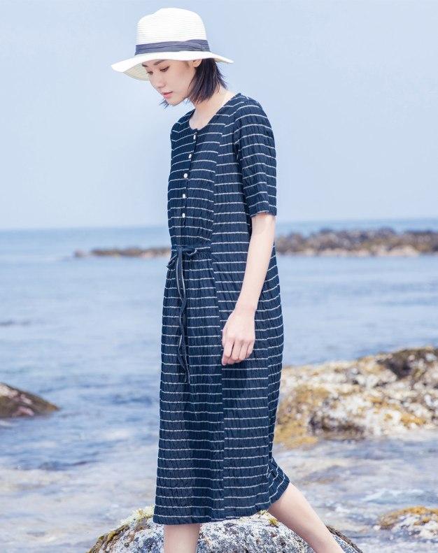 Indigo Round Neck Short Sleeve Long Fitted Women's Dress