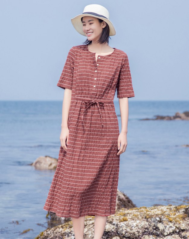 Round Neck Short Sleeve Long Fitted Women's Dress