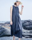 Blue Round Neck Sleeveless Long Standard Women's Dress