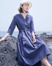 Green V Neck 3/4 Sleeve Long Fitted Women's Dress