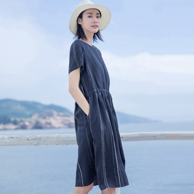 Indigo Round Neck Short Sleeve Long Loose Women's Dress