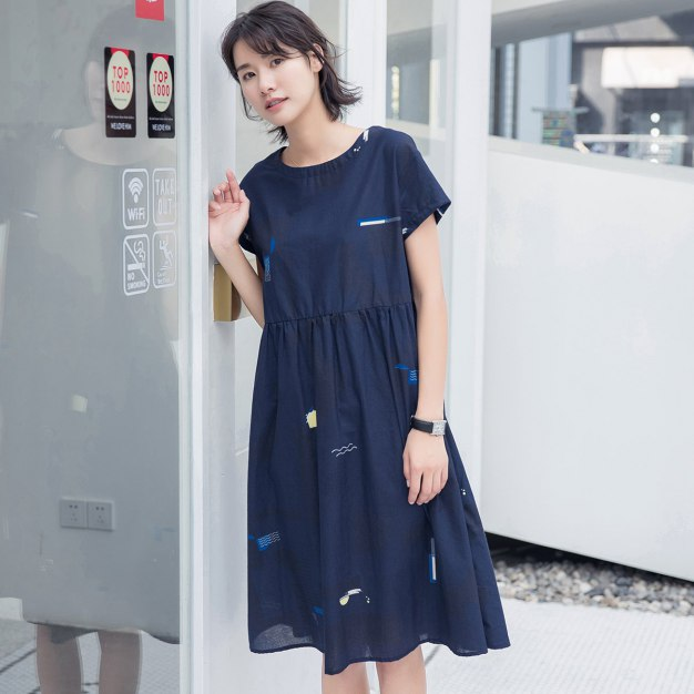 Indigo Round Neck Short Sleeve 3/4 Length Women's Dress