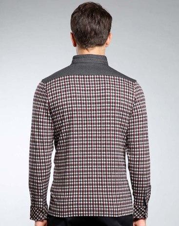 Red Stand Collar Long Sleeve Standard Men's T-Shirt