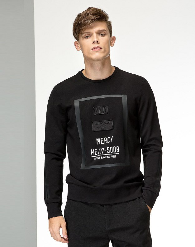 Black Long Sleeve Standard Men's Hoodies & Sweatshirt