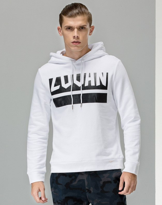 White Long Sleeve Standard Men's Hoodies & Sweatshirt