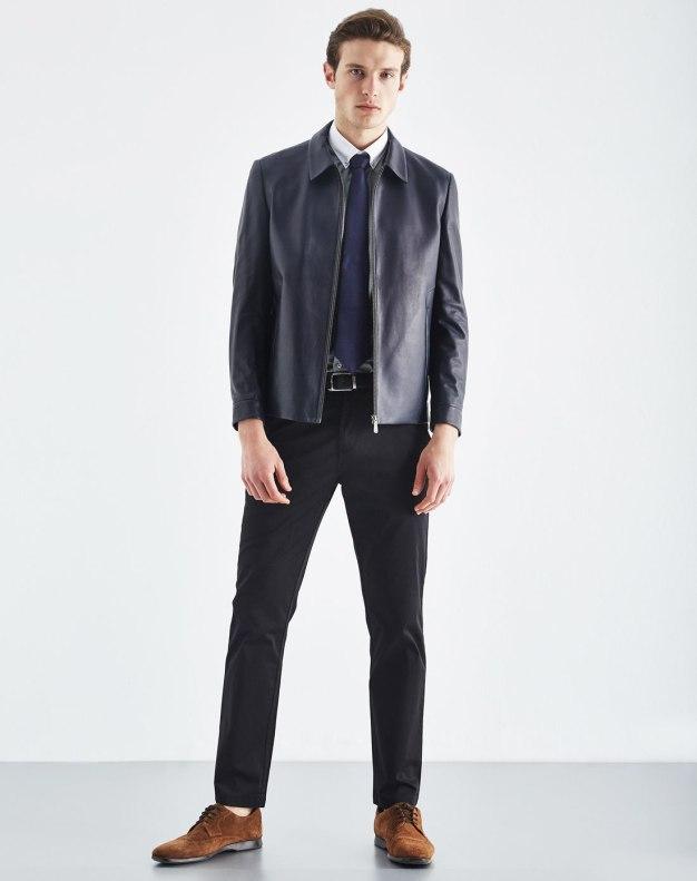 Blue Lapel Long Sleeve Men's Fur & Leather