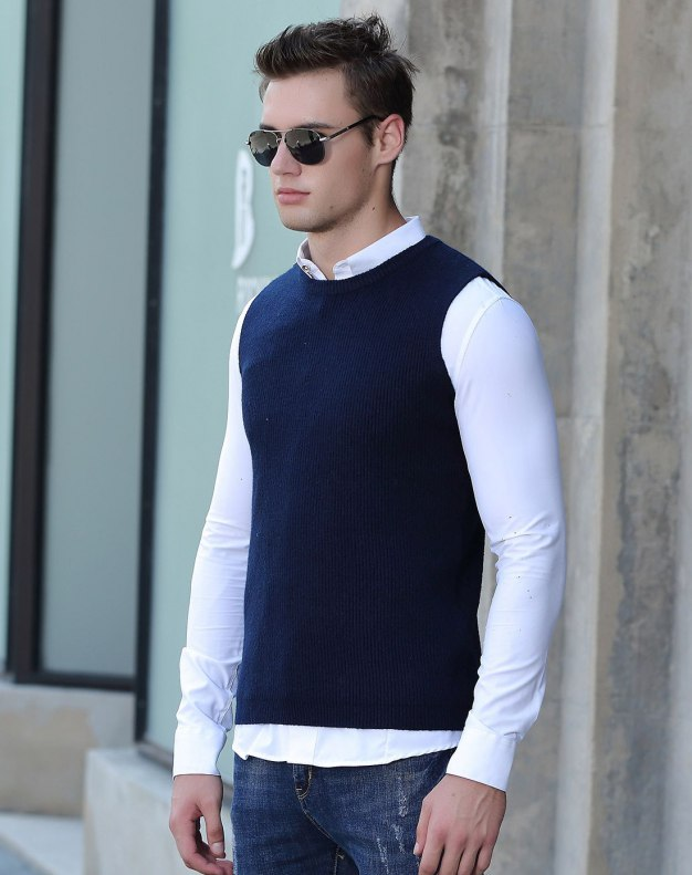 Blue Sleeveless Fitted Men's Sweater