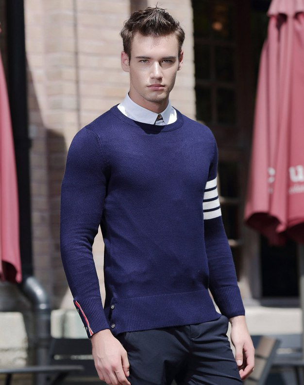 Blue Long Sleeve Standard Men's Knitwear