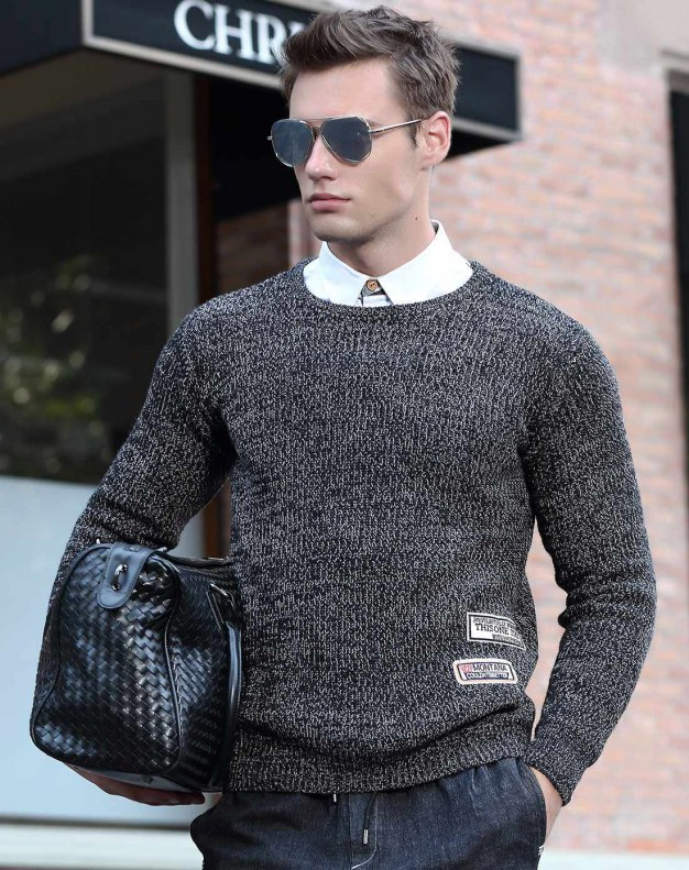 Black Long Sleeve Standard Men's Sweater