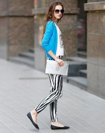 Blue Plain V Neck Single Breasted Long Sleeve Women's Knitwear