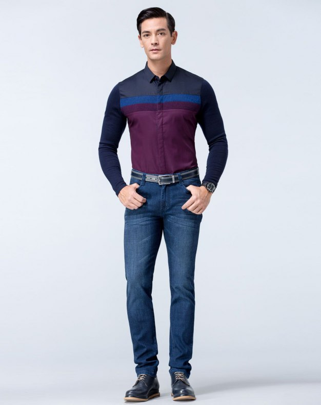 Blue Long Sleeve Fitted Men's Shirt