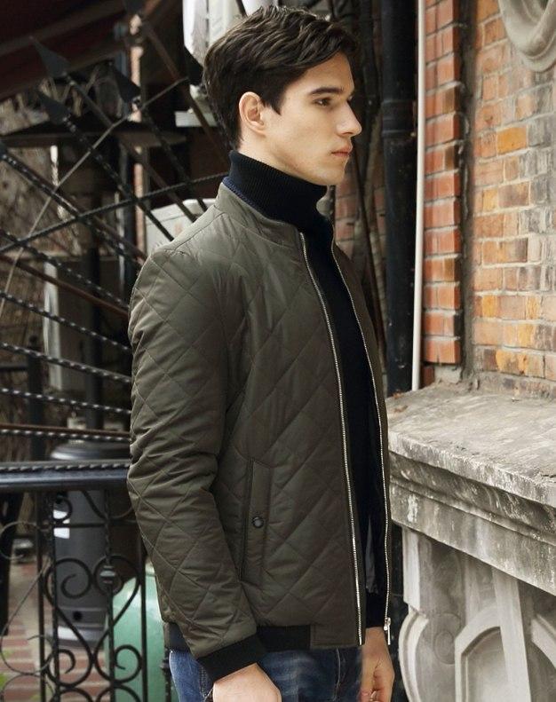 Green Long Sleeve Men's Outerwear