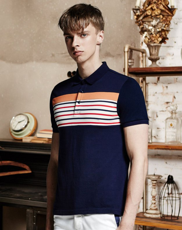 Blue Stripes Short Sleeve Standard Men's Polo