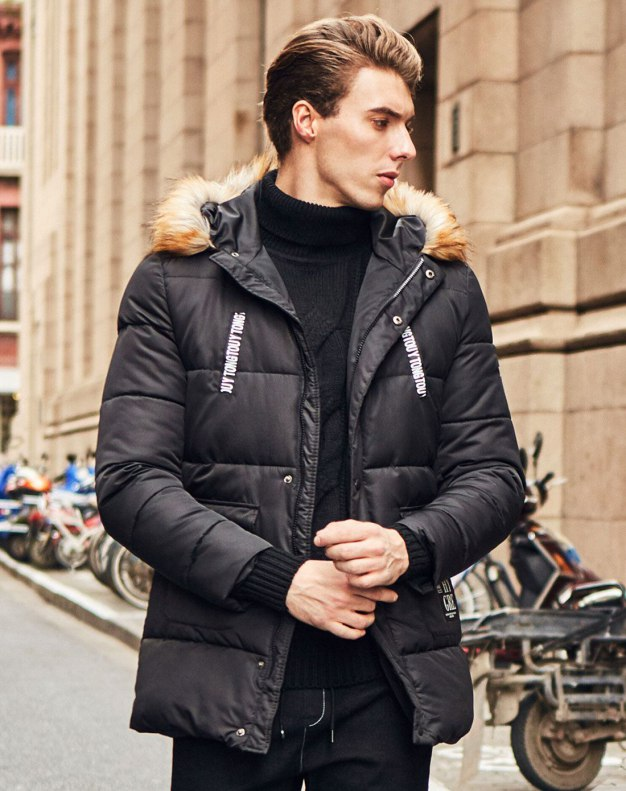 Black Long Sleeve Fitted Men's Outerwear