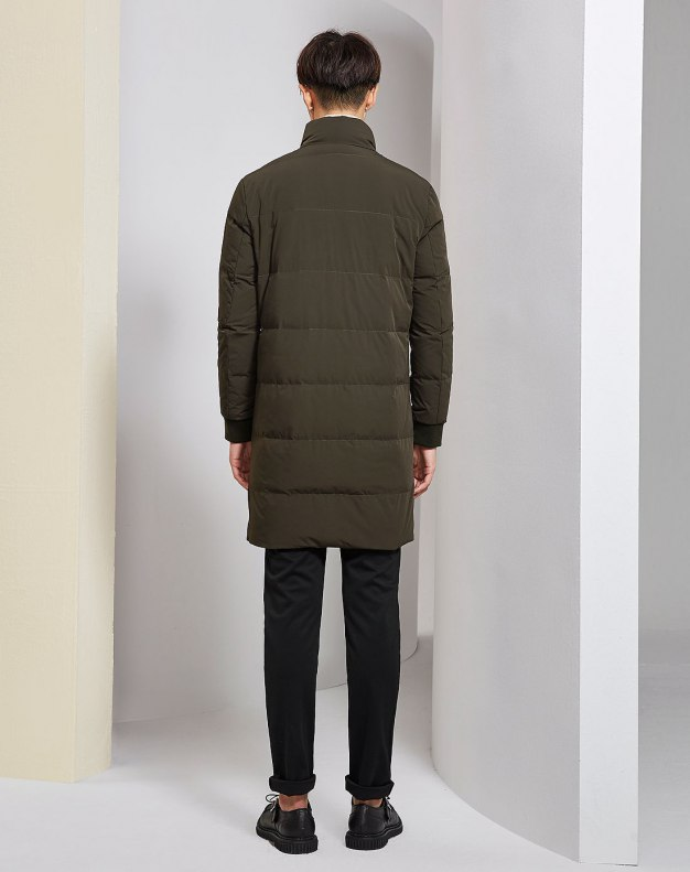 Green Long Sleeve Men's Down Coat