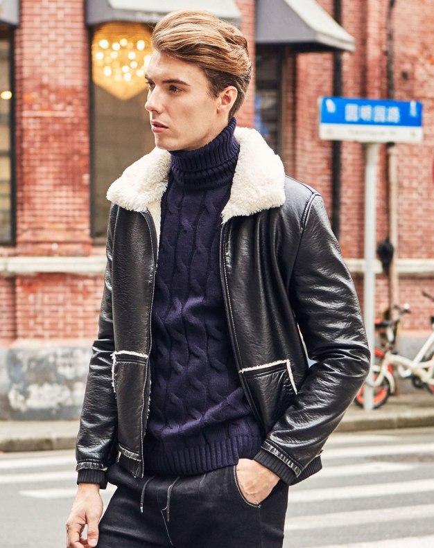 Black Long Sleeve Fitted Men's Jacket
