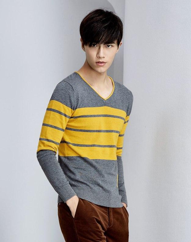 Yellow Long Sleeve Men's Knitwear