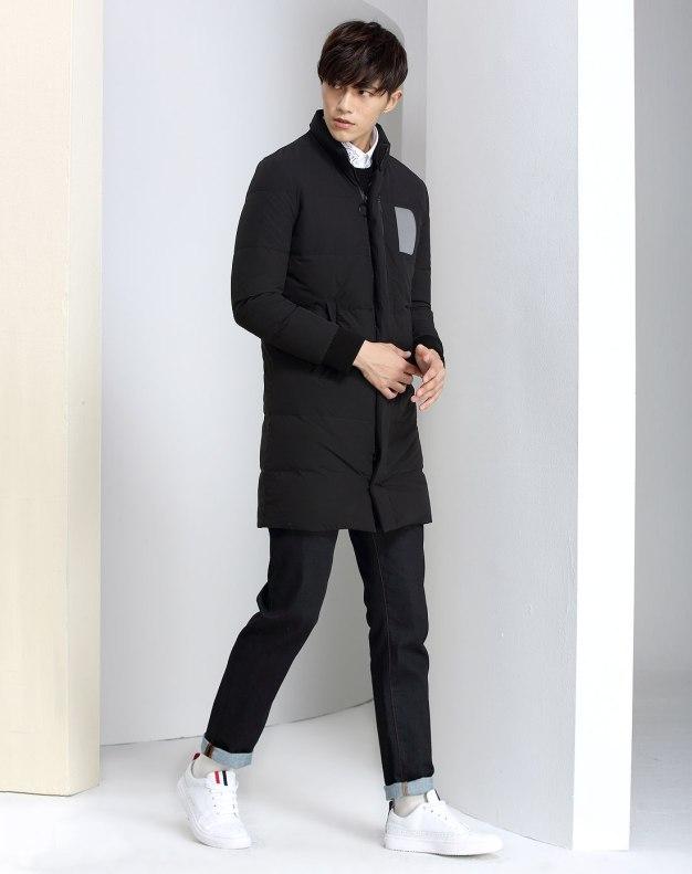 Black Long Sleeve Men's Down Coat