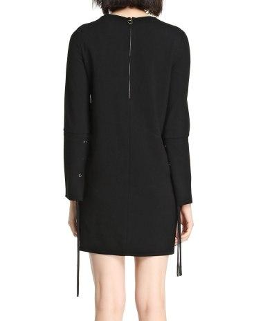 Black Round Neck Long Sleeve High Waist Women's Dress