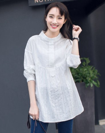 White Stand Collar Long Sleeve Loose Women's Dress