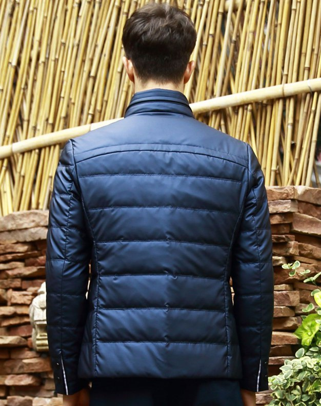 Blue Long Sleeve Standard Men's Down Coat