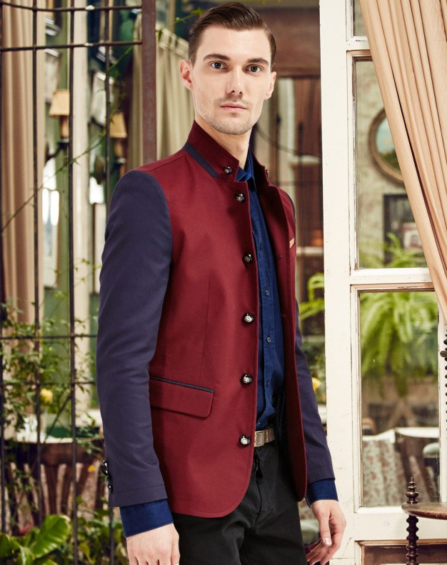 Red Long Sleeve Standard Men's Outerwear