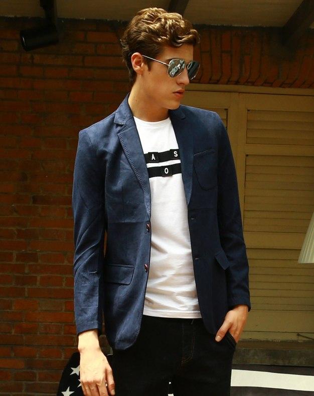 Blue Suit Collar Long Sleeve Standard Men's Suit
