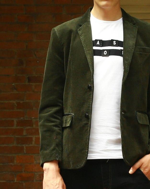 Green Suit Collar Long Sleeve Standard Men's Outerwear