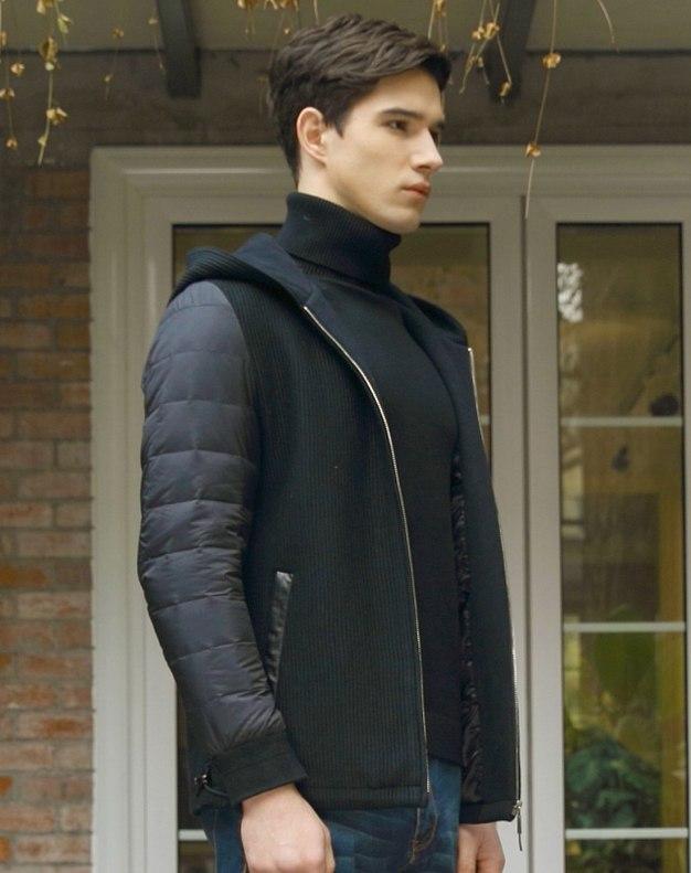 Black Long Sleeve Standard Men's Down Coat