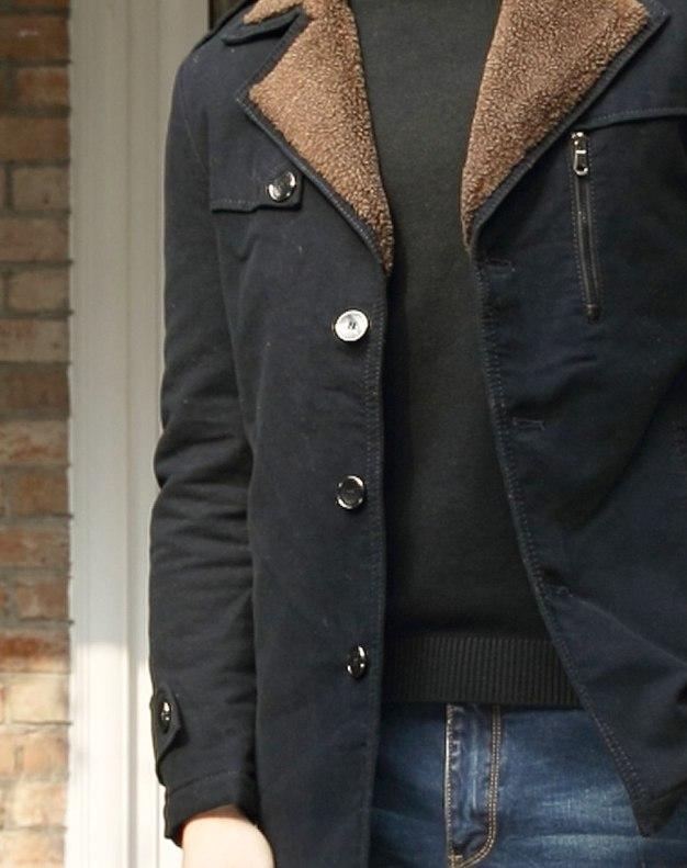 Blue Lapel Long Sleeve Standard Men's Outerwear