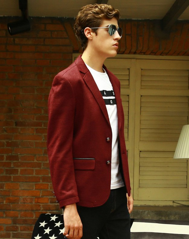 Red Suit Collar Long Sleeve Standard Men's Suit